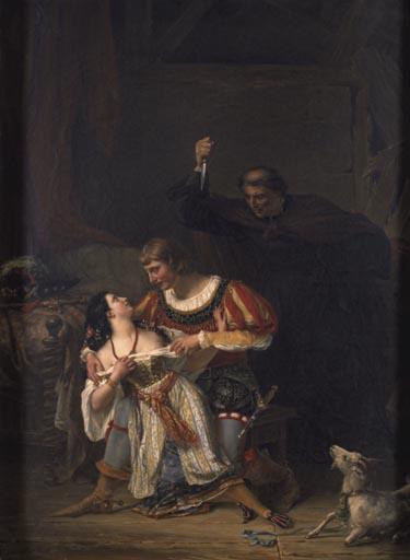 Illustration of Phoebus, Esmeralda, and Claude Frollo by Auguste Couder