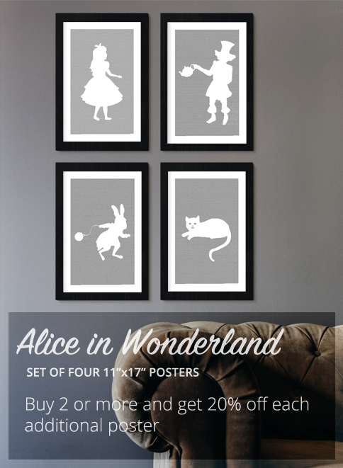 Alice in Wonderland Book Poster (Cheshire Cat Design) group of 4