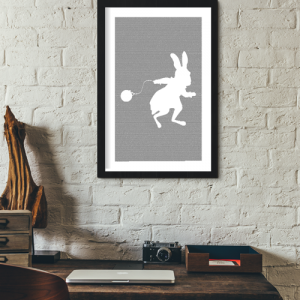 Alice in Wonderland Book Poster (Rabbit Design)