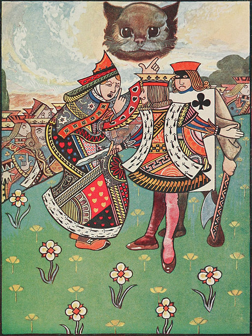 Alice in Wonderland illustration: An ongoing dispute between the executioner, the King, and the Queen (Charles Robinson, 1907)