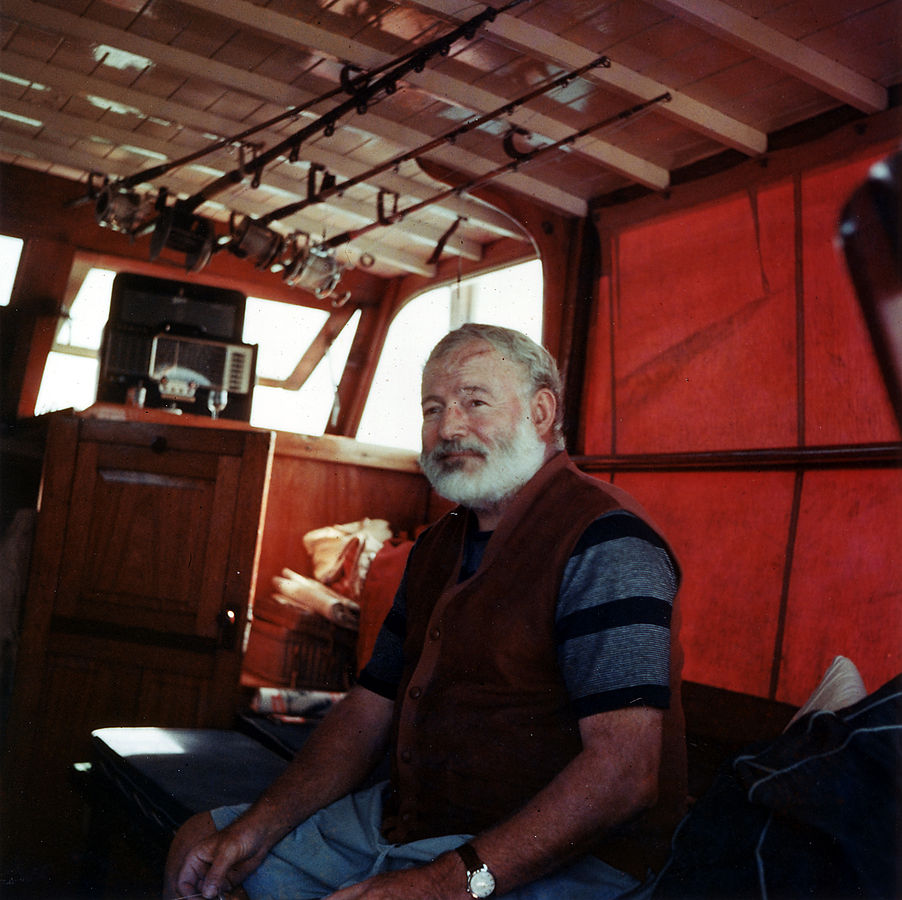 American Author Ernest Hemingway aboard his Yacht around 1950