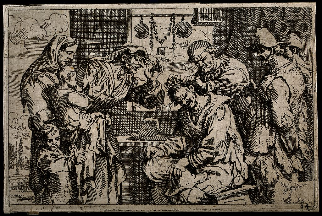 Barber surgeon etching illustration