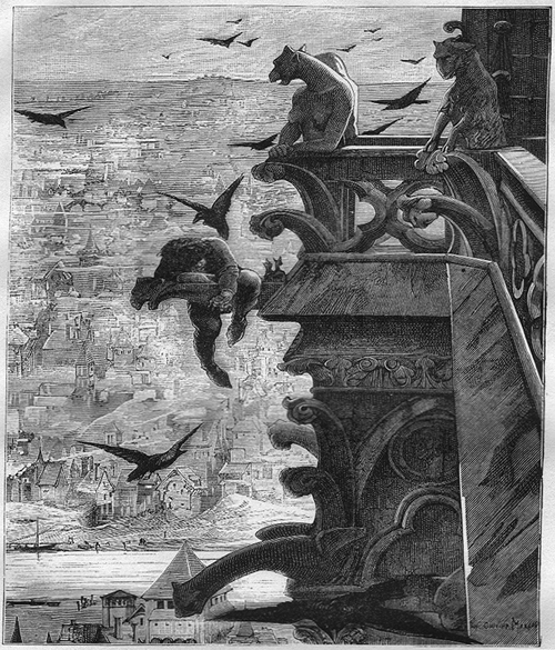 Illustration from one of Victor Hugo novels Hunchback