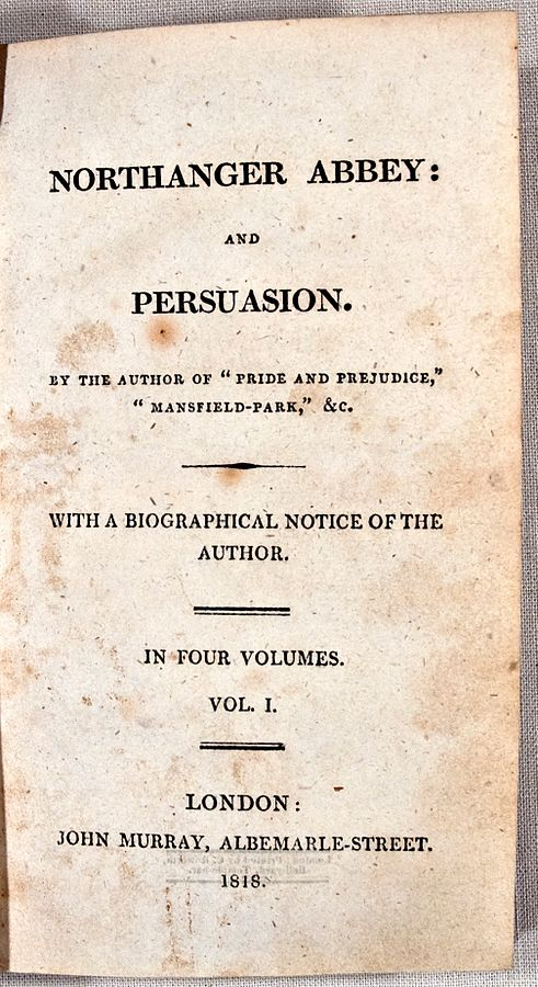 Northanger Abbey and Persuasion first edition title page