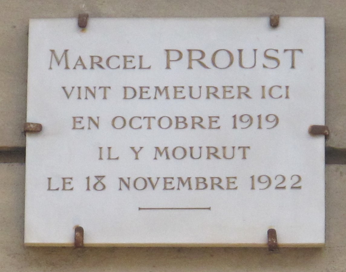 Commemorative plaque for Marcel Proust