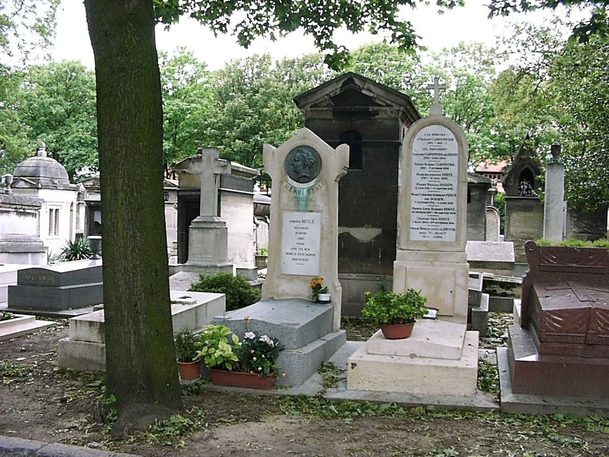 Grave of Stendhal on Cimetière de Montmartre in Paris