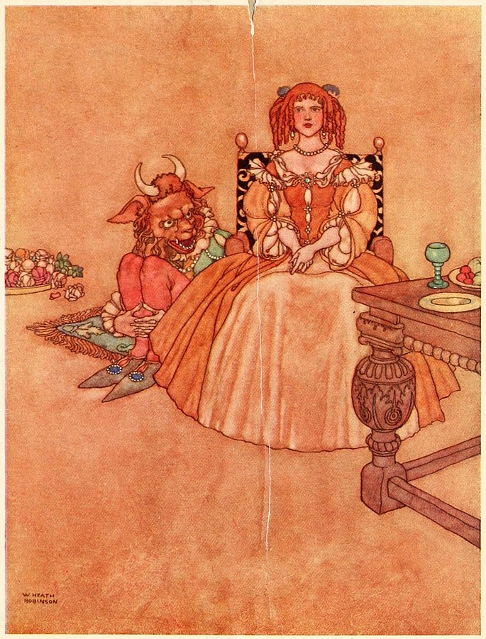 Beauty and the Beast Illustration from Old-Time Stories (1921)