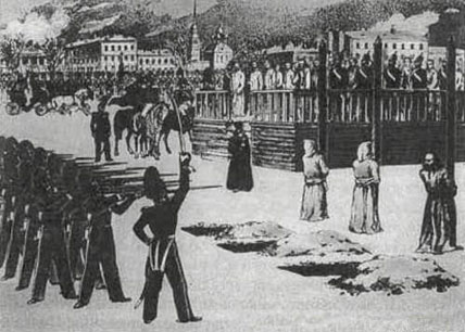 Petrashevsky Circle members in a mock execution in St. Petersburg, by B. Pokrovsky (1849)