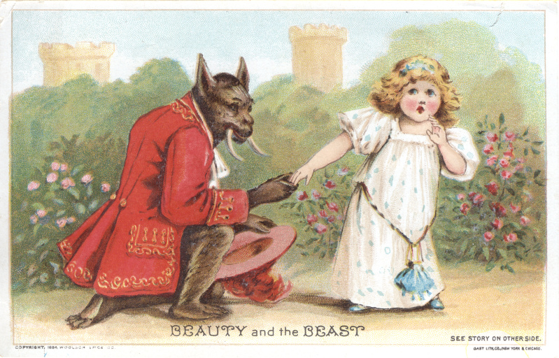 Beauty and the Beast card from Woolson Spice Co.