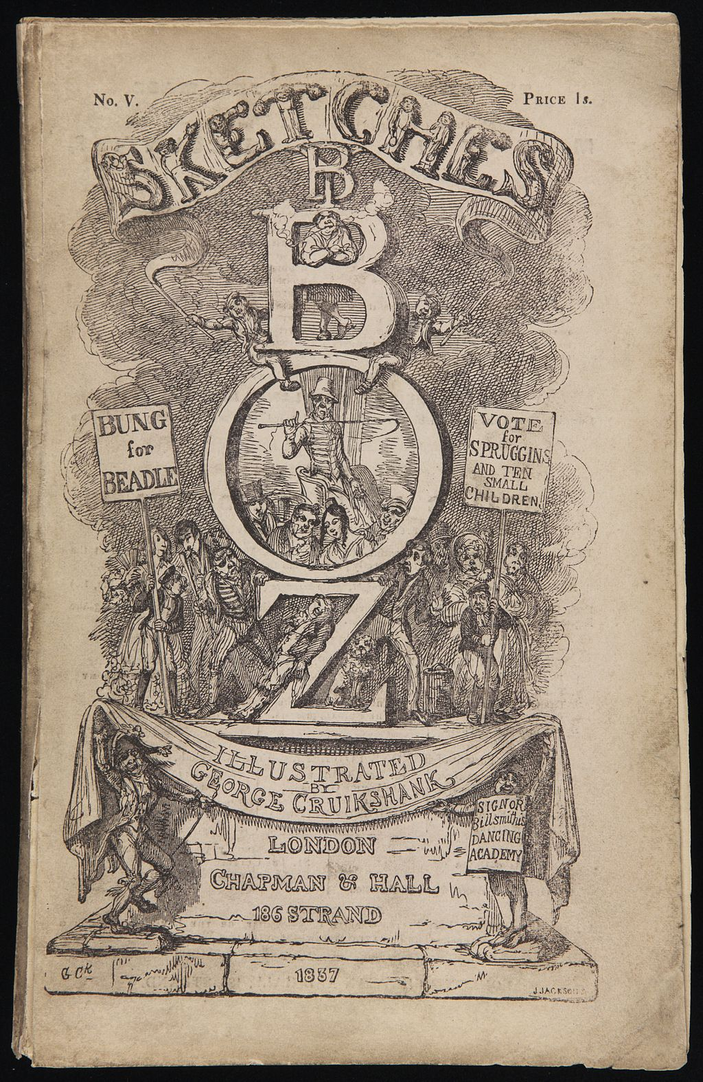 Sketches by Boz Cover by George Cruikshank [Public domain]