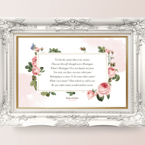 Poster Mockup - A Rose by Any Other Name - Romeo and Juliet quote - Shakespeare