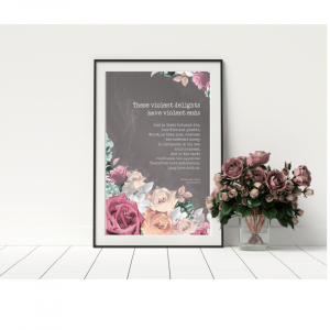 Mockup of Quote Poster - These Violent Delights - Romeo and Juliet quote - Shakespeare