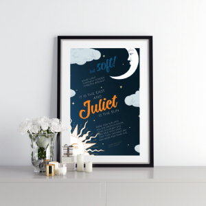 Mockup of quote poster - juliet is the sun - Romeo and Juliet quote - Shakespeare
