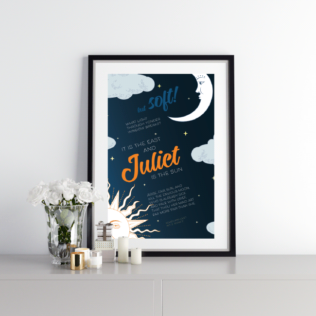 Mockup – juliet is the sun – Romeo and Juliet quote – Shakespeare