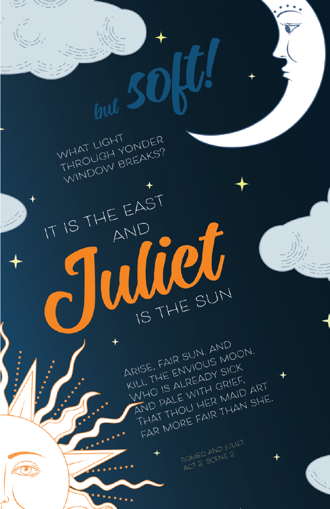 Juliet Is the Sun - Romeo and Juliet Quote Poster